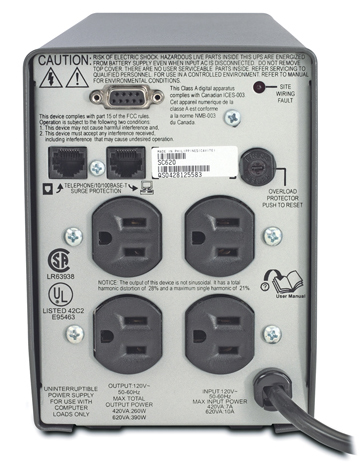 APC Smart-UPS SC 620VA 120V - Back View